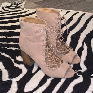beige lace up booties 💫⭐️